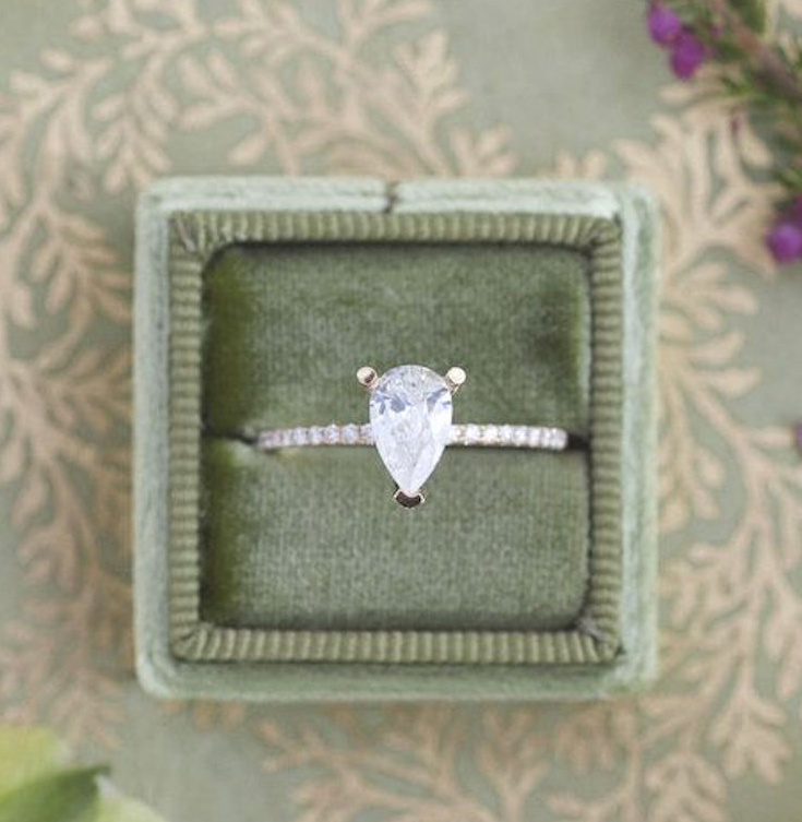 Pear Diamond Accent Engagement Ring